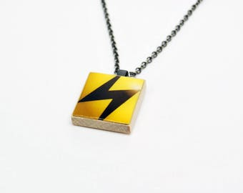 Upcycled Energy Pokemon Necklace in Gunmetal - Pokemon Jewelry, Energy Necklace, Lightning Bolt Necklace, Upcycled Necklace, One of a Kind
