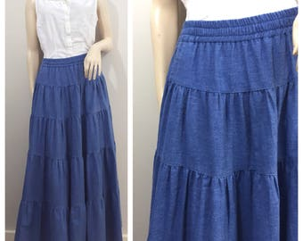 Denim Prairie Skirt // Ruffled Tier Skirt // James Halbert Skirt
