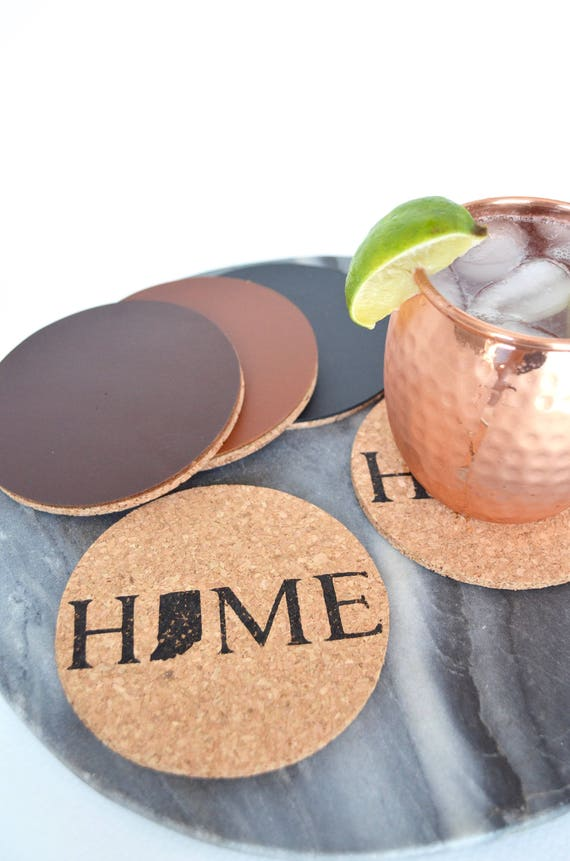 Indiana HOME State Cork Coasters. Each coaster features a hand inked image. Choose from basic cork or premium coasters backed with leather