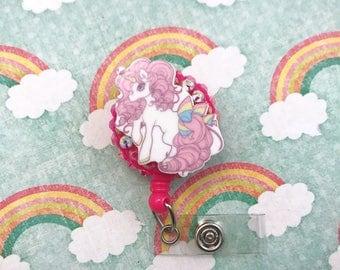 Pink Unicorn Bling Cute Kawai Fairy Kei Retractable Badge Reel ID Holder RN Cna Pediatric Nurse Nursing Fairytale Horse Rainbow CPhT