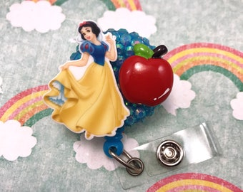 Snow White Red Apple Disney Princess Dress Rhinestone Retractable ID Badge Reel Holder Nurse Rn CNA Technician Work Name Tag Nicu