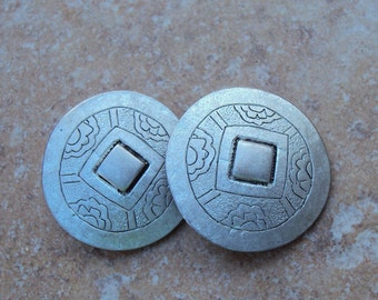 Chico's Round Decorative Metal Silver Tone Clip On Vintage Earrings