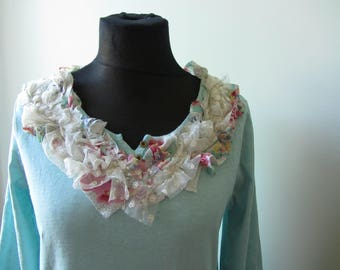 Mint Green T Shirt, Shabby Chic Clothing, Upcycled Recycled Repurposed, Tattered Tshirt, Anthropologie Style, Mori Girl Clothing Mori Kei