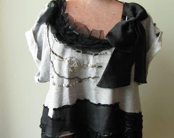 Black Lace Embellished Sweatshirt WITH Black Dice Earrings, Big Bow Sweatshirt, Punk Rock T Shirts, Upcycled Recycled Clothing, Punk Shirt