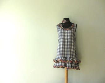 RESERVED Plus Size Shabby Chic Summer Dress, Upcycled Clothing, Tattered Ruffle Dress, Checker Print Tank Top Dress, Repurposed Recycled