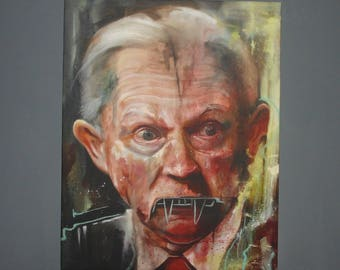 Giclee on Canvas, Jeff Sessions, Portrait, Reproduction of Original Oil Painting, Wall Art, Political Art, Stretched Canvas