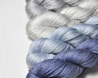 Silver lining - Gradient of Silk/Cashmere Lace Yarn