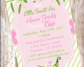 Sweet Pea 1st birthday invitation, Sweet Pea baby shower, pink and green shower invitation, 15 invitations