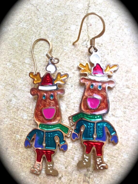 Reindeer Christmas Earrings- Vintage Holiday Earrings- Fun Santa Gifts- Holiday Earrings- Reindeer Dangle Earrings- Holiday Gift Ideas