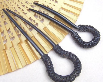 2 Antique  French Jet hair combs Victorian mourning hair accessory hair pin hair pick hair fork decorative comb