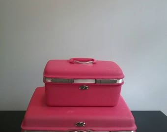 Vintage Samsonite for Royal Traveller Montbello Hot Pink Matched Luggage Set Suitcase Train Case Carry On Tote