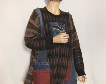 XL to 1X  Brown Knit and Denim