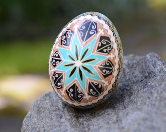 Pysanka in blue and brown with star and crosses Traditional gift idea by Katya Trischuk Toronto artists
