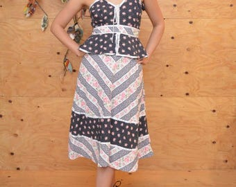 Vintage 70's Navy, White And Pink Floral Summer Prairie Dress, Straps Lace & Ribbion Detail SZ S