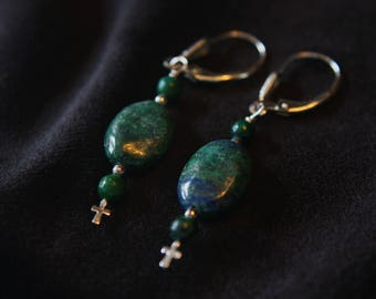 Lapis and sterling silver earrings - Tablets of Stone