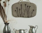Unique decorative stoneware wall tile with impression of Queen Anne's Lace.  Home decor. Rustic wall hanging.
