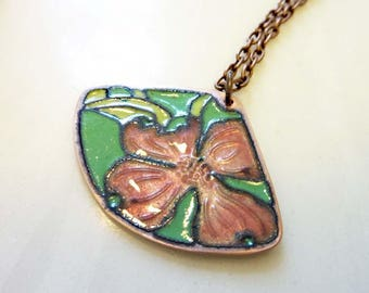 Dogwood Floral Fan Pendant, Vintage Copper, Champleve Glass Enamel, Flower Necklace