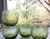 Vintage Lido or Milano Green Beverage Glasses, Large Roly Polys, Set of Four, Avocado Green, Anchor Hocking