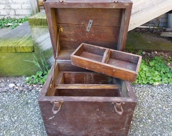 Vintage Wood tool box chest removable drawer Primitive rustic supplies storage