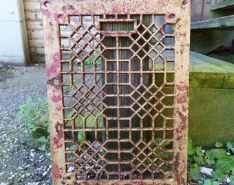 Antique Cast iron Grate Floor Wall Architectural salvage Deco Victorian Gothic Decorative restoration hardware