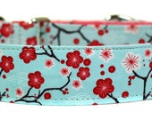 Cherry Blossoms on Blue Dog Collar