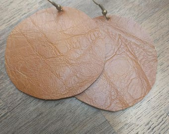 Round Leather Earring
