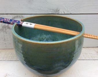 Ready to Ship: Ceramic Noodle Bowl in Blue and Green with Chopsticks