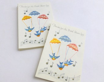 Bridal Shower Gift Thank You Notes Lot of 10 Unused Mid Century Greeting Cards