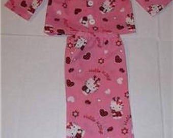 "Hello Kitty ladybug Valentines day pajamas fits 18"" American Girl Doll"