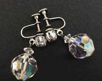 Laguna Earrings, Vintage Jewelry, Crystal Dangle Earrings, Signed Laguna Jewelry, Screw Back Disco Ball Earrings, Mad Men Vintage Earring