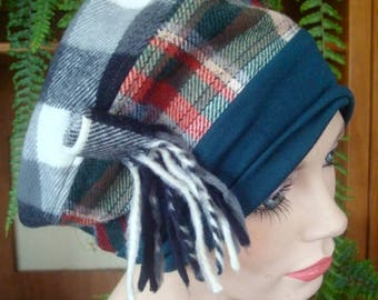 womens hat chemo hat headcover tartan poppett hat winter brushed cotton unique hat