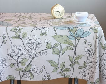 Cotton tablecloth square tablecloth floral table cloth  tassel country kitchen decor housewarming gift christmas gift for her tabel cover