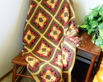Crochet Granny Square Afghan Blanket Brown Yellow Red Daybed Double Bedspread Couch Throw