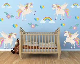 Unicorn Wall Decal, Nursery Wall Decal, Reusable Non Toxic NO PVCs, WD72