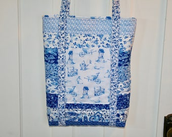 Quilted Tote Bag, Tote Bag, Purse, Quilted Purse, Blue Tote Bag, Shoulder Bag, Shopping Bag, Quilted Shopping Bag, Blue, White