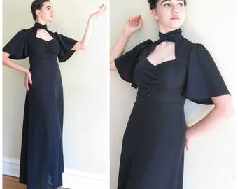 Vintage 1970s Black Evening Dress Keyhole Neckline / 70s Flutter Sleeve Empire Waist Party Dress / Small