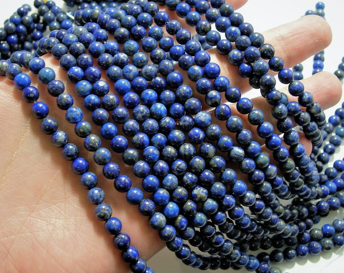 Lapis lazuli 6mm Natural - 1 full strand  - 66 beads  - Wholesale Deal - RFG884