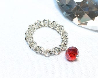 Sterling Silver Chaimaille Beaded Ring with Red Crystal Charm