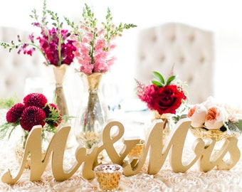 Mr and Mrs Wedding Sign for Wedding Sweetheart Table, Mr and Mrs Letters, Large Thick Mr & Mrs Sign Set for Head Table (Item - MTS100)