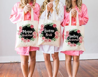 Wedding Bags for Bridal Party Tote Bags Bridesmaids Gifts for Bride & Bridemaids, Floral Wreath Bags for Wedding (Item - FBB300)