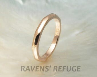 14k recycled rose gold faceted stacking ring / wedding band