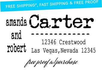 "Large Return Address Stamp - Distressed Vintage Typewriter Font -  Mounted with Wooden Handle or Self-Inking  Stamp - 20208 - 3"" x 1 1/2"""