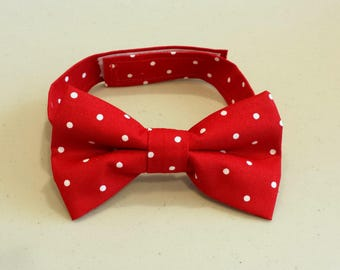 New! Little Boys Red Bow Tie - Red with White Polka Dots - Pre-tied Bow Tie - Velcro Closing Bow Tie - Size Infant, Toddler or Youth
