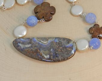 Australian Opal Necklace with Coin Pearls, Bronzite Flowers and Periwinkle Blue Agate on Sterling Silver