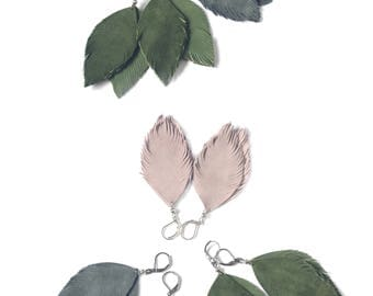 Suede leather feather earrings in pale pink, moss green or pigeon grey.