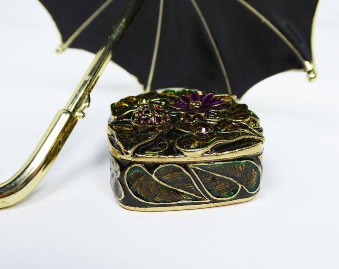 Enamel & Rhinestone Trinket Box Signed Monet - Garden Theme - Lady Bug and Flowers, Red and Purple Rhinestones - HInged Box w Magnetic Lid