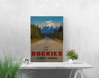 Canada Mountain Poster A4 A3 A2 Print Alberta Canada Rocky Mountains Landscape Art Vintage Travel Poster Retro Style Art