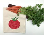 Varieties of Tomatoes Flour Sack Towel - Deluxe Natural Tea Towel - Hand Screen Printed - Perfect for the foodie