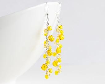 Sunflower Yellow Cascade Cluster Earrings on Silver Plated Hooks