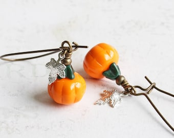 Orange Little Pumpkin Dangle Earrings on Antiqued Brass Hooks